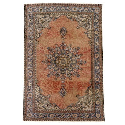 6'10 x 10'2 Hand-Knotted Indo-Persian Mashhad Area Rug, Mid-20th Century