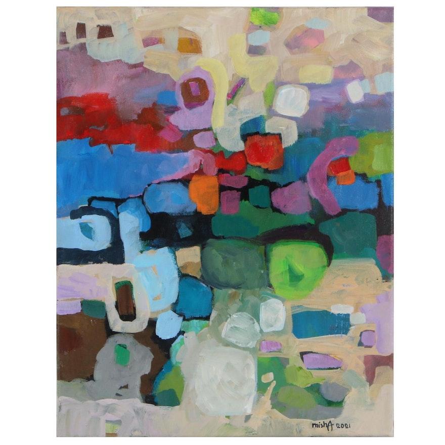 "Alexandra Zecevic Acrylic Painting ""Raw Color - Multi,"" 2021"