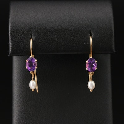 14K Amethyst and Pearl Drop Earrings