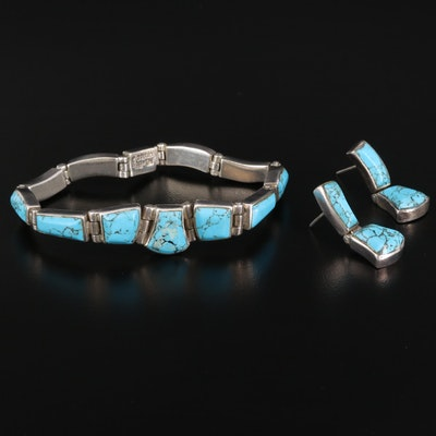Mexican 950 Silver Turquoise Bracelet and Earrings Set