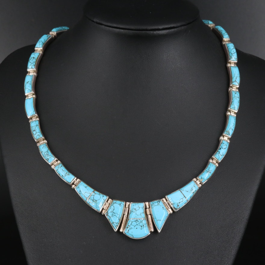 Mexican 950 Silver Turquoise Necklace