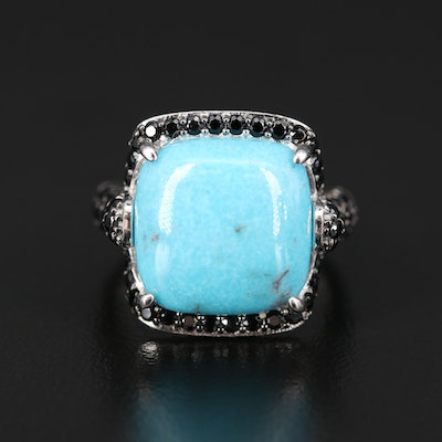 Sterling Turquoise and Spinel Ring