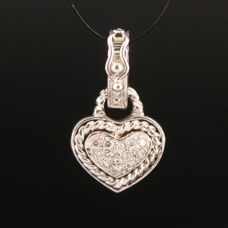 14K Diamond Heart Enhancer Pendant