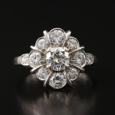 Palladium 1.57 CTW Diamond Cluster Ring