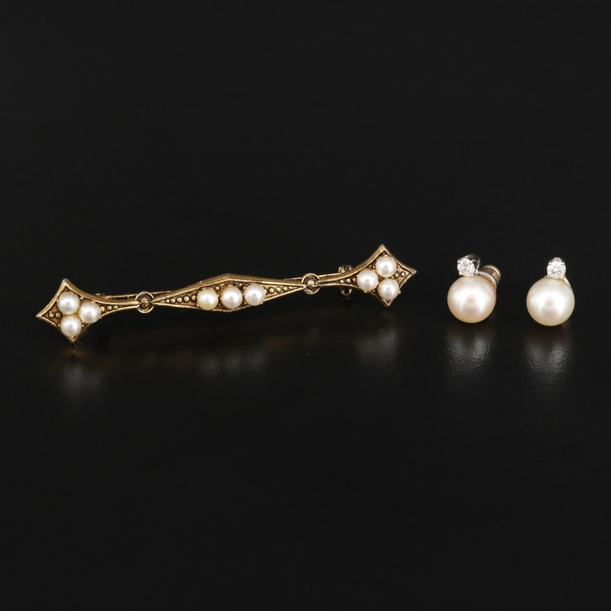 14K Pearl and Diamond Stud Earrings with Imitation Pearl Bar Brooch