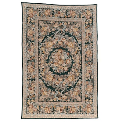 6' x 9'1 Hand Made Sino-French Aubusson Style Needlepoint Area Rug