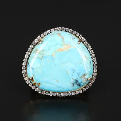 Sterling Turquoise Mosaic and Topaz Ring
