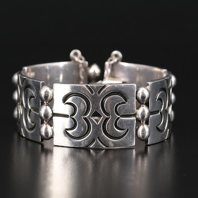 Mexican Sterling Pierced Link Panel Bracelet