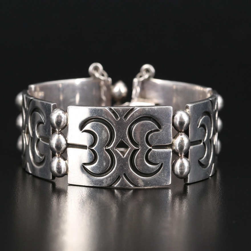Mexican Sterling Pierced Link Panel Bracelet