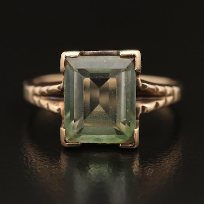 10K Quartz Triplet Ring