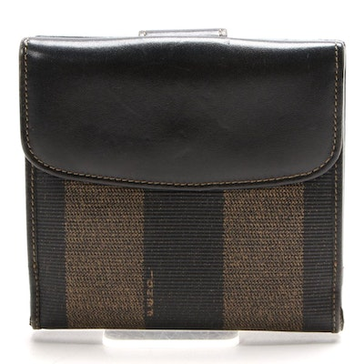Fendi Bifold Wallet in Pequin Stripe Canvas and Black Leather