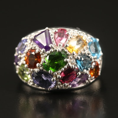 Sterling Silver Diopside, Amethyst, Citrine and Gemstone Ring