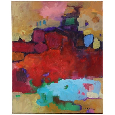 """Alexandra Zecevic Acrylic Painting """"Raw Color: Red,"""" 2021"""