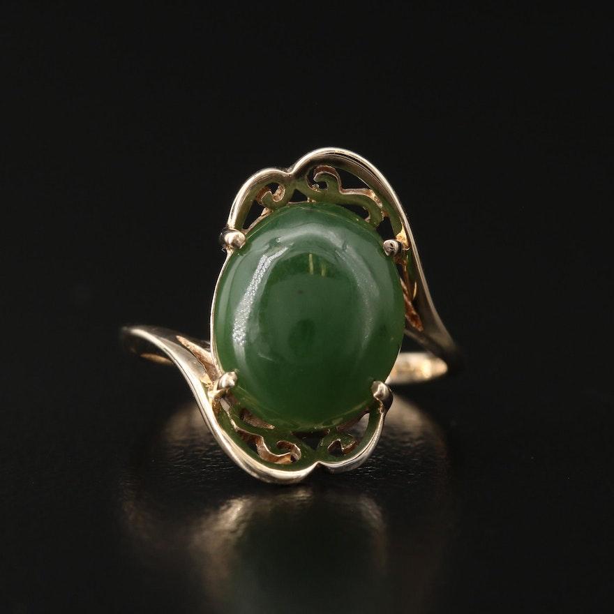 14K Nephrite Bypass Ring