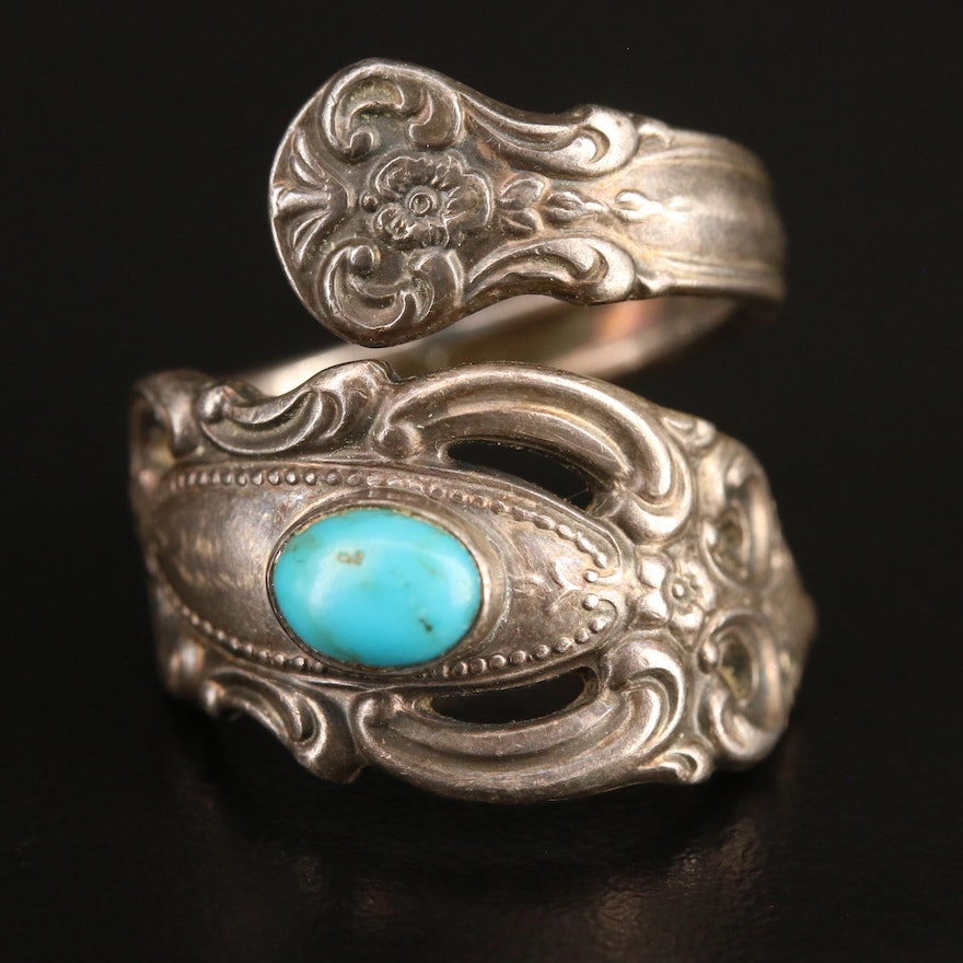 Vintage Sterling and Turquoise Spoon Ring