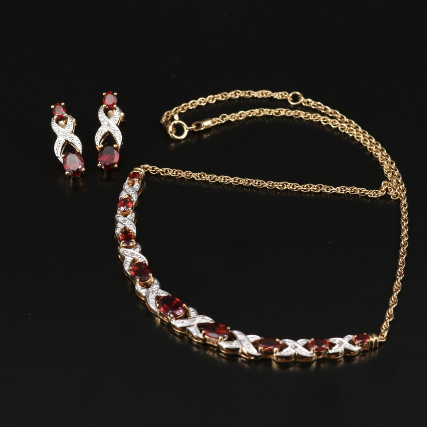 "Sterling Garnet and Diamond ""Hugs and Kisses"" Necklace and Earring Set"