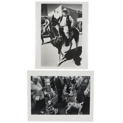 William D. Wade Silver Gelatin Prints of Figure on Horseback and Dogs