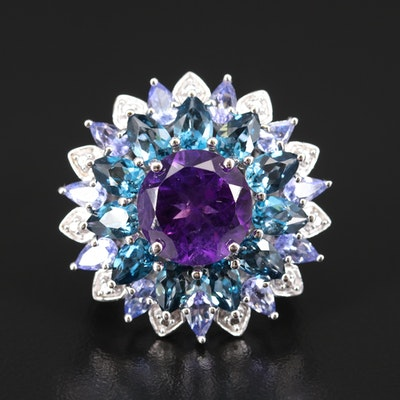 Sterling Silver Amethyst, Topaz and Tanzanite Ring