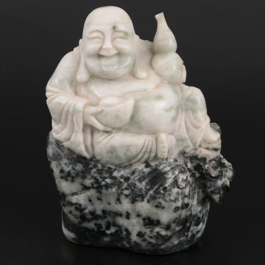 Chinese Carved Serpentine Budai with Wine Gourd Figurine
