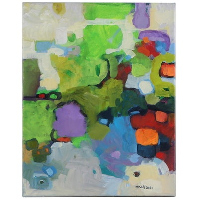 "Alexandra Zecevic Acrylic Painting ""Raw Color: Green,"" 2021"