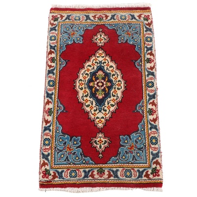"1'8"" x 2'10"" Hand-Knotted Persian Kerman Wool Floor Mat"