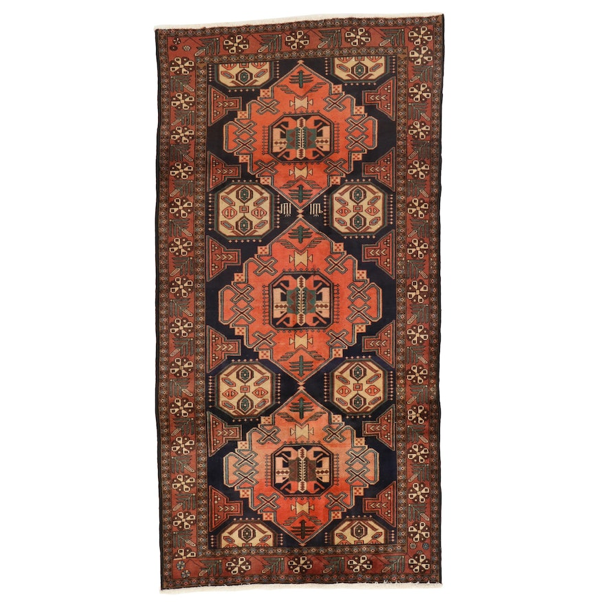 4'9 x 9'5 Hand-Knotted Persian Hamadan Wool Rug