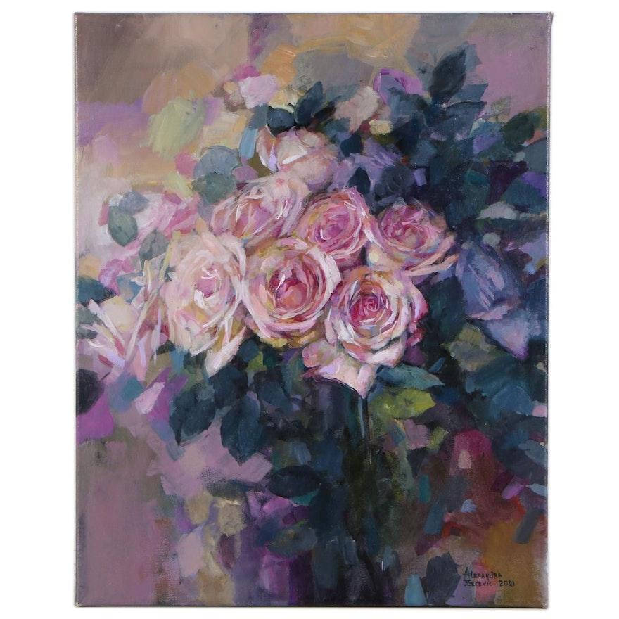 "Alexandra Zecevic Acrylic Painting ""Pink Roses,"" 2021"