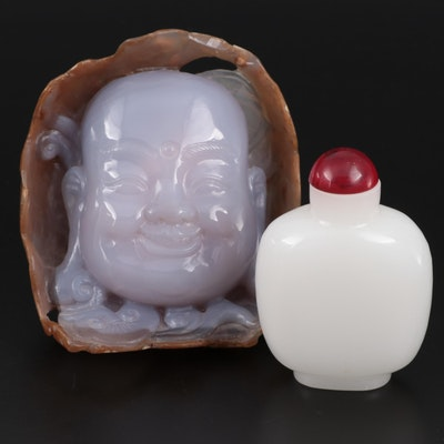 Chinese Style Carved Agate Chalcedony Buddha Head with Serpentine Snuff Bottle