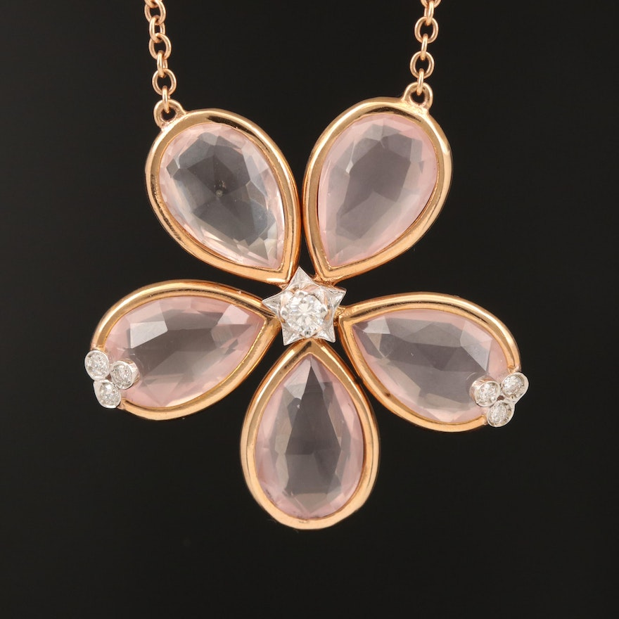 18K Rose Gold Diamond and Rose Quartz Flower Necklace
