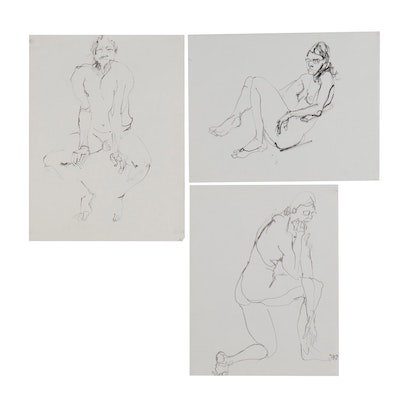 John Tuska Figural Ink Drawing, Late 20th Century