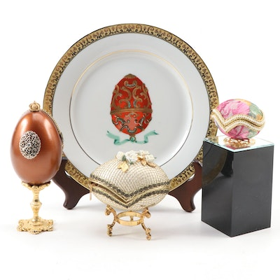 Decorative Plate, Egg Shell Ring Boxes with Rhinestones, and More