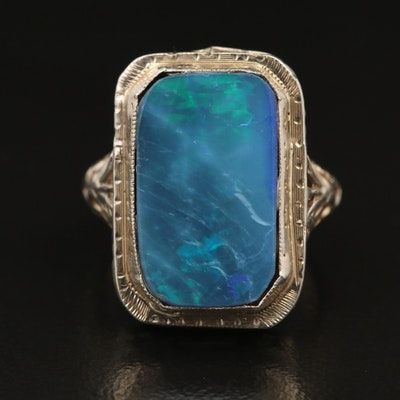 14K Opal Doublet Filigree Ring