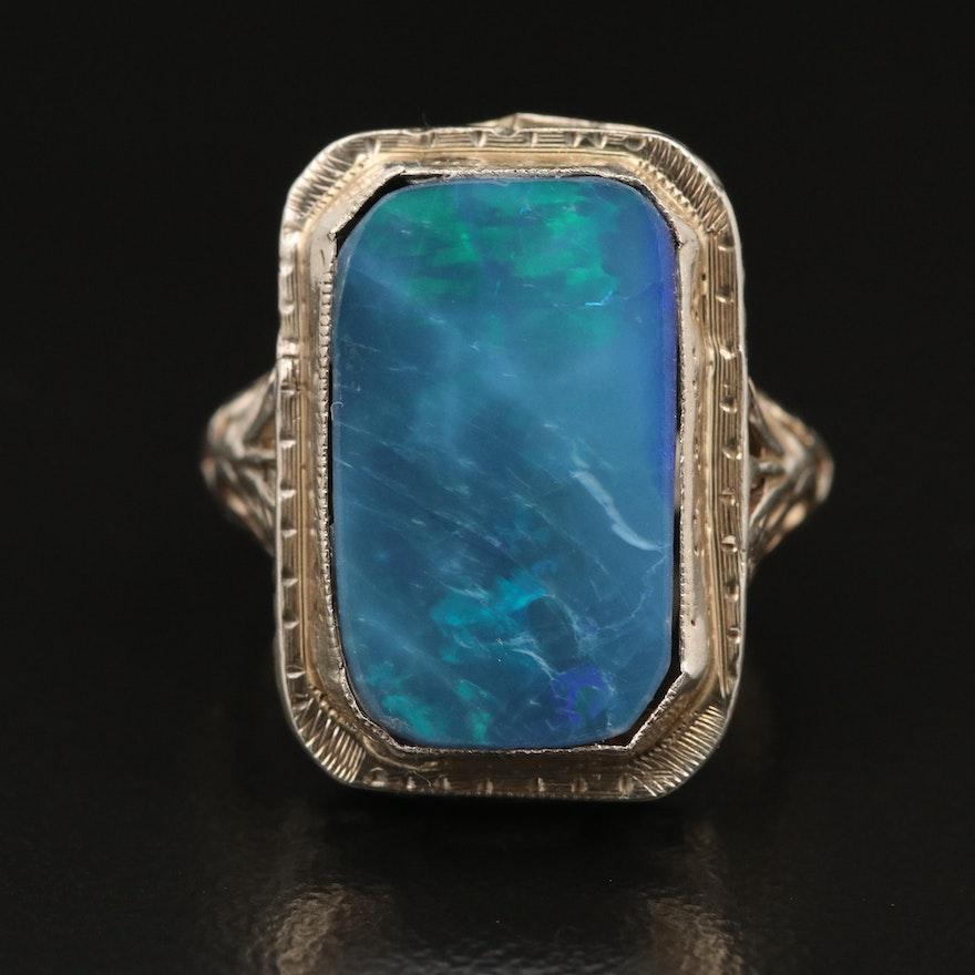 14K Opal Doublet Filigree Ring