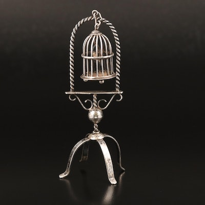 Dutch 833 Silver Miniature Birdcage on Stand