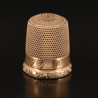 9K Gold Monogrammed Sewing Thimble, Late 19th/Early 20th Century