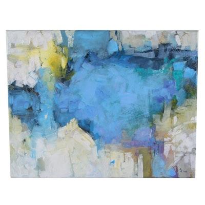 "Alexandra Zecevic Acrylic Painting ""Winter Lights,"" 2021"