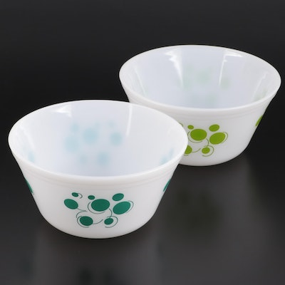 "Federal Glass ""Atomic Dots"" Milk Glass Mixing Bowls, Mid-20th C"