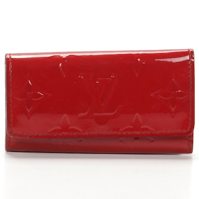 Louis Vuitton Four-Key Hook Case in Red Monogram Vernis Leather