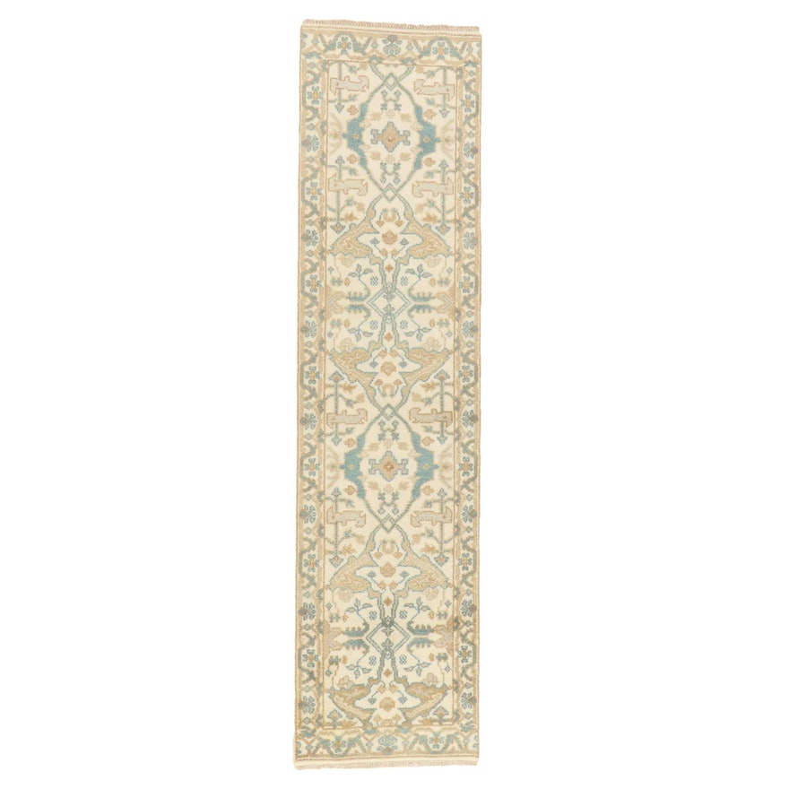 2'6 x 9'10 Hand-Knotted Indo-Turkish Oushak Carpet Runner, 2010s