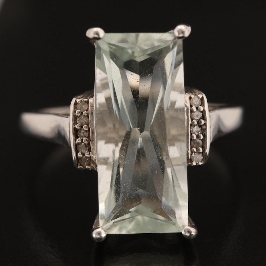 Sterling Prasiolite and Diamond Ring