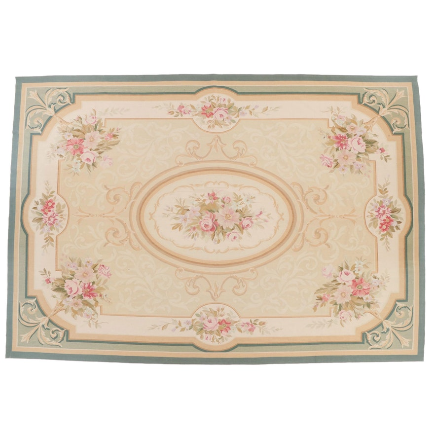 9'7 x 13'11 Handwoven French Aubusson Style Room Sized Rug
