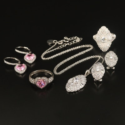 Sterling Silver Cubic Zirconia Jewelry Sets with Boxes