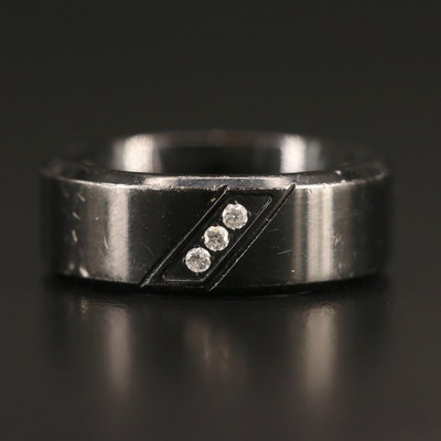 Stainless Steel Diamond Band