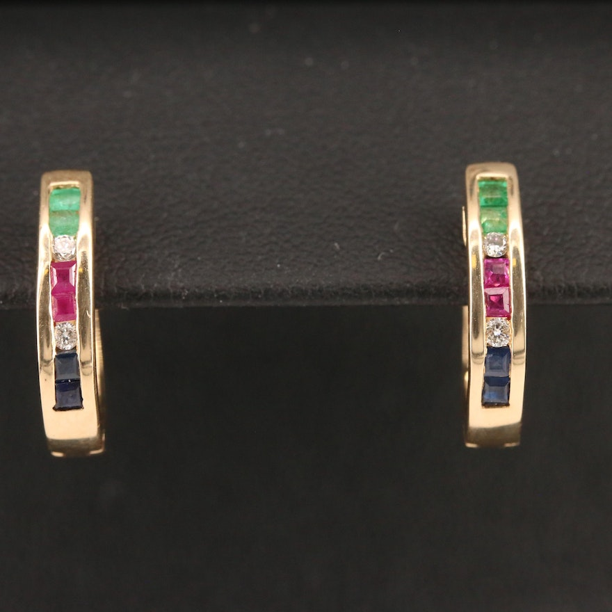 14K Diamond and Gemstone Hoop Earrings