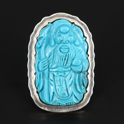 Asian Inspired Sterling Silver Carved Faux Turquoise Ring