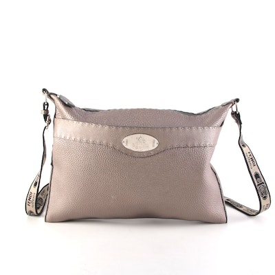 Fendi Selleria Large Zip Messenger Bag in Metallic Finished Pebble Grain Leather