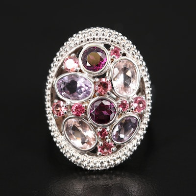 Sterling Silver Amethyst and Gemstone Openwork Ring