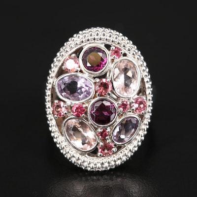 Sterling Silver Amethyst and Gemstone Openwork Ring