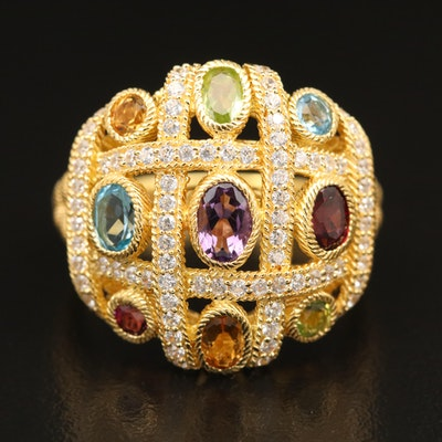 Judith Ripka Sterling Silver Multi-Color Gemstone Ring