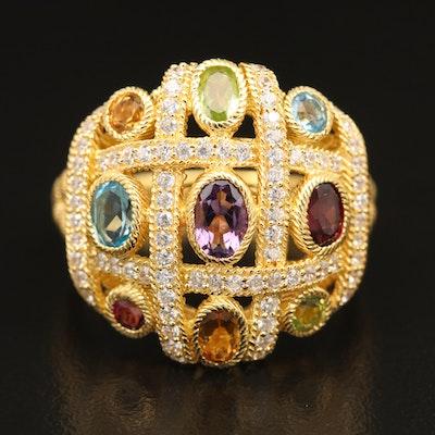 Judith Ripka Sterling Silver Multi-Color Gemstone Ring